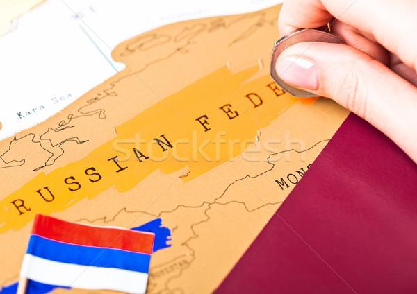 Reizen vakantie Rusland paspoort vlag vrouwelijke Stockfoto © DenisMArt