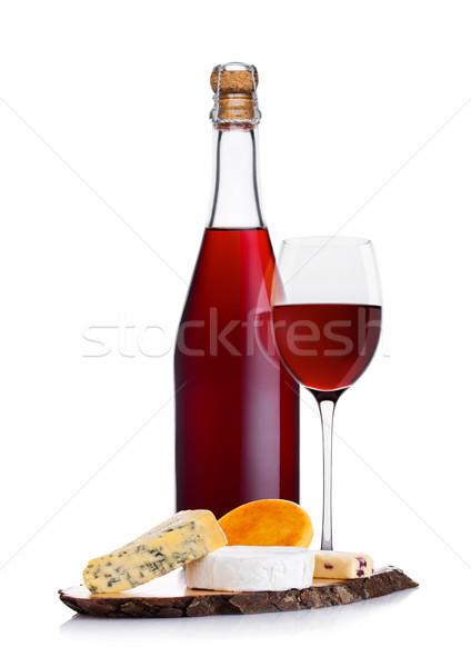 Foto stock: Botella · casero · vino · tinto · queso · vidrio · blanco