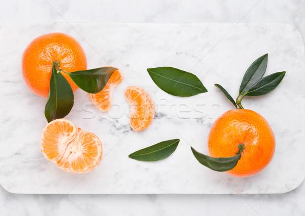 Vidro garrafa fresco mandarim suco Foto stock © DenisMArt
