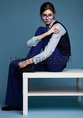 Divat gyönyörű nő üzlet kellékek kék munka Stock fotó © DenisMArt