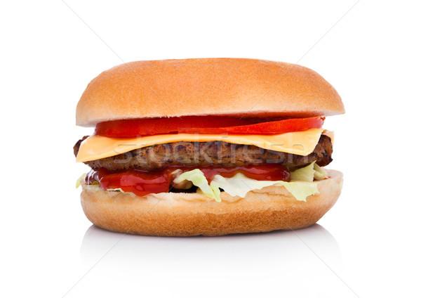 牛肉 チーズバーガー 野菜 ソース 白 ストックフォト © DenisMArt