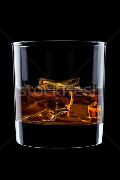 Elegáns üveg whiskey jégkockák izolált fekete Stock fotó © DenisMArt