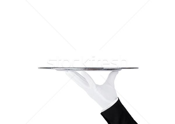 Servente branco luva aço inoxidável bandeja Foto stock © DenisMArt