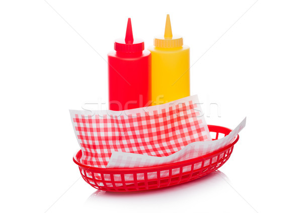 Hot dog fast food basket with ketchup and mustard Stock photo © DenisMArt
