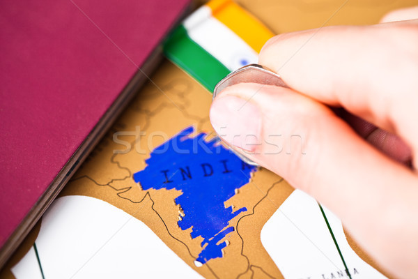 Viaje vacaciones India pasaporte bandera femenino Foto stock © DenisMArt