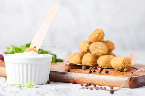 フライド ぱりぱり 鶏 ポップコーン 新鮮な サラダ ストックフォト © DenisMArt