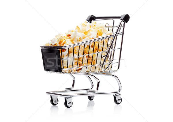 Popcorn słony słodkie przekąska koszyk zakupy Zdjęcia stock © DenisMArt