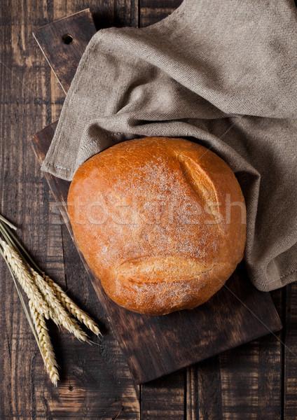 Frissen sült kenyér konyha törölköző búza Stock fotó © DenisMArt