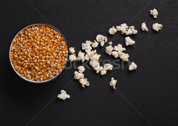 Siyah çanak mısır patlamış mısır ahşap Stok fotoğraf © DenisMArt