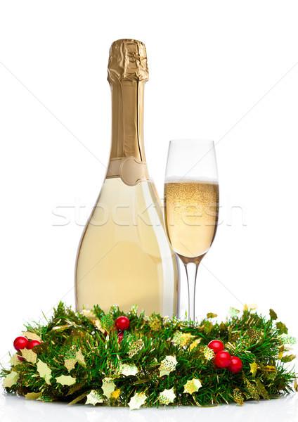 Champanhe vidro garrafa natal decoração branco Foto stock © DenisMArt