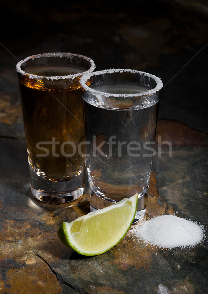 メキシコ料理 金 銀 テキーラ 石灰 塩 ストックフォト © DenisMArt