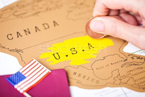 Utazás ünnep Amerika útlevél Egyesült Államok zászló Stock fotó © DenisMArt
