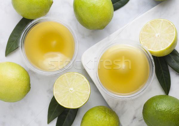 Műanyag csészék citrus keksz desszert krém Stock fotó © DenisMArt