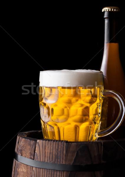 Hideg üveg üveg sör öreg hordó Stock fotó © DenisMArt