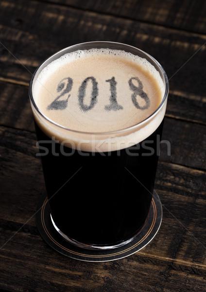 Vidrio cerveza superior año dígitos forma Foto stock © DenisMArt