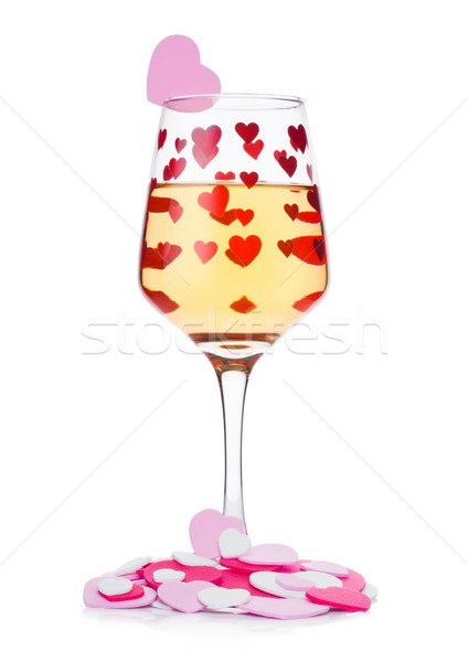 üveg fehérbor piros rózsaszín szív alak valentin nap Stock fotó © DenisMArt