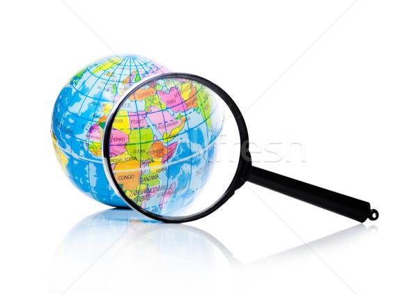 Földgömb nagyító Ázsia Afrika fehér internet Stock fotó © DenisMArt