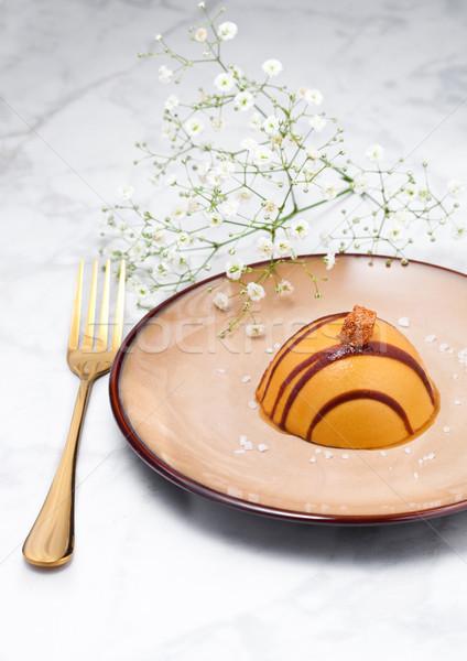 Foto stock: Luxo · restaurante · caramelo · sobremesa · prato · dourado