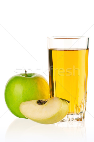 Sok jabłkowy szkła odizolowany biały wiosną żywności Zdjęcia stock © DenisNata