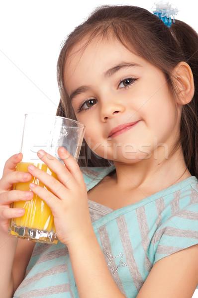 Ragazza bere succo ritratto felice bambina Foto d'archivio © DenisNata