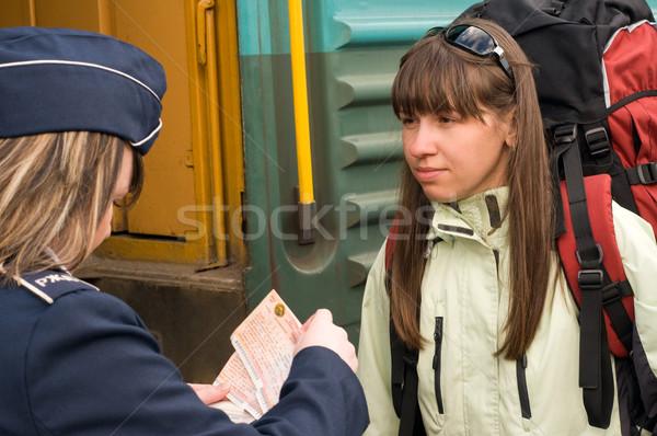 Trem mulher vermelho mochila mulheres viajar Foto stock © DenisNata