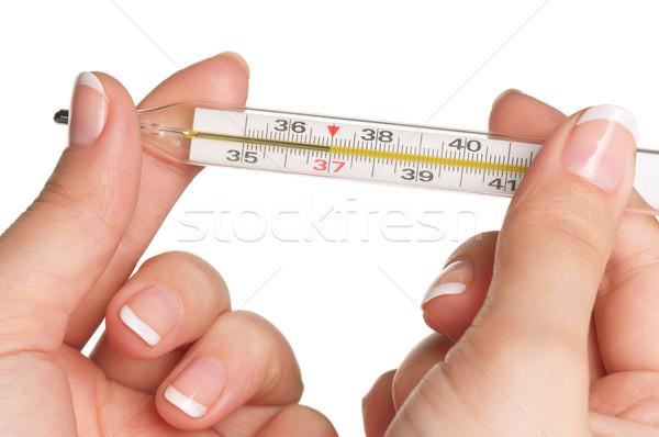 Main thermomètre femme isolé blanche médecin Photo stock © DenisNata