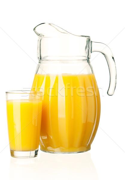 Suco de laranja jarro vidro fresco branco comida Foto stock © DenisNata