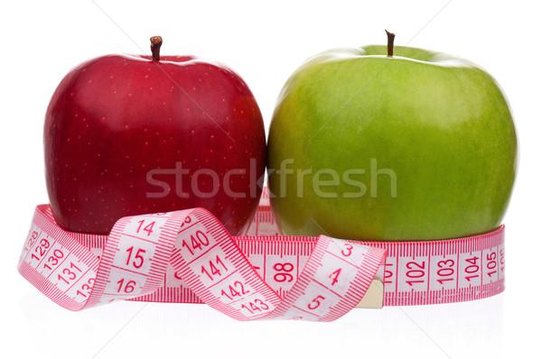 Fresco maçã maduro maçãs fita métrica em torno de Foto stock © DenisNata