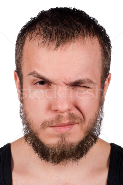 Expressions faciales jeune homme isolé blanche mode modèle Photo stock © DenisNata