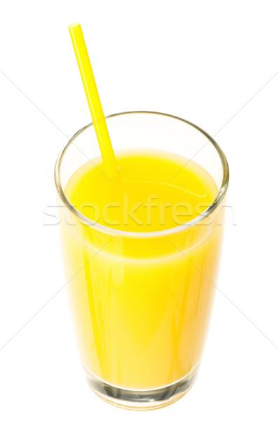 Suco de laranja vidro fresco palha branco comida Foto stock © DenisNata