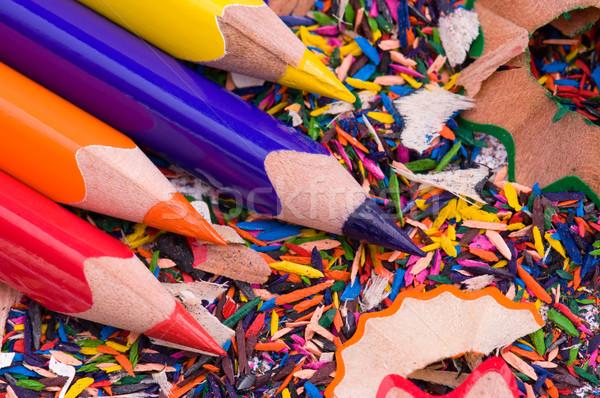 Multicolor pencils and shavings Stock photo © DenisNata