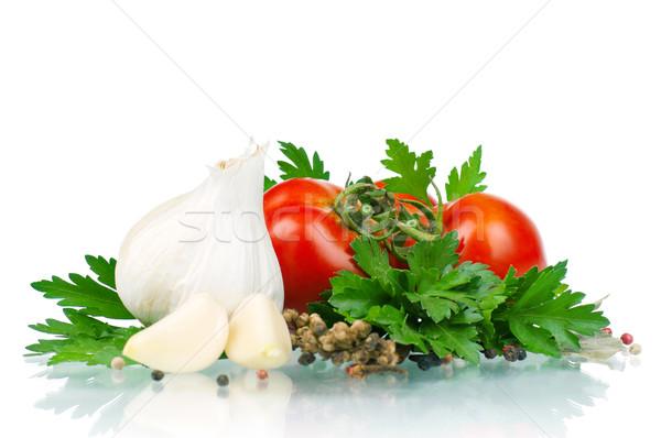 Legumes frescos branco tomates salsa alho pimenta Foto stock © DenisNata