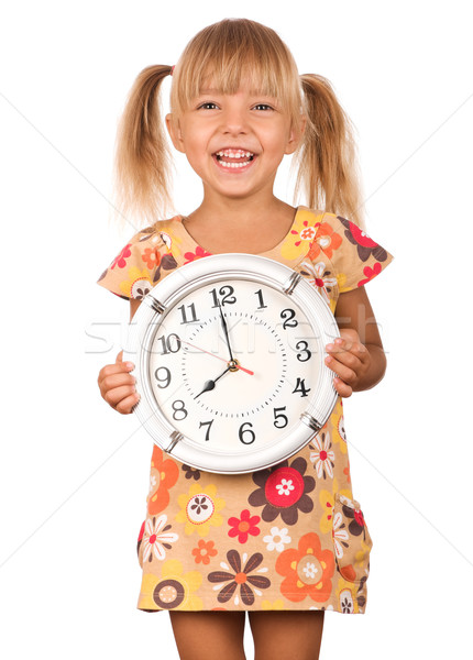 Enfant horloge fille grand isolé Photo stock © DenisNata