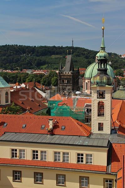Prague rouge toits photo détails vieux Photo stock © Dermot68