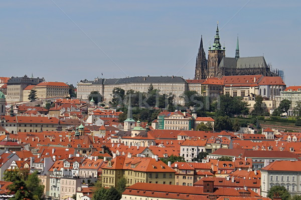 Prag kırmızı çatılar fotoğraf ayrıntılar eski Stok fotoğraf © Dermot68
