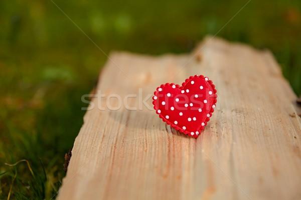 Rood hart hout foto details groene Stockfoto © Dermot68