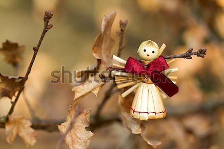 Stro engel beeldje hout foto boom Stockfoto © Dermot68