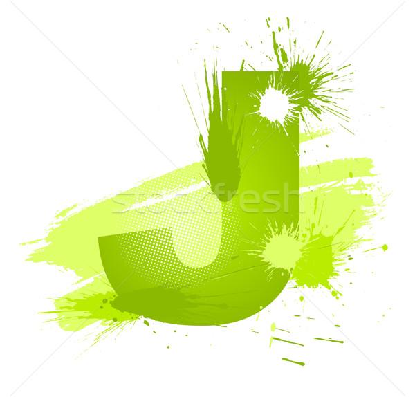 Stock fotó: Zöld · absztrakt · festék · csobbanások · betűtípus · levél