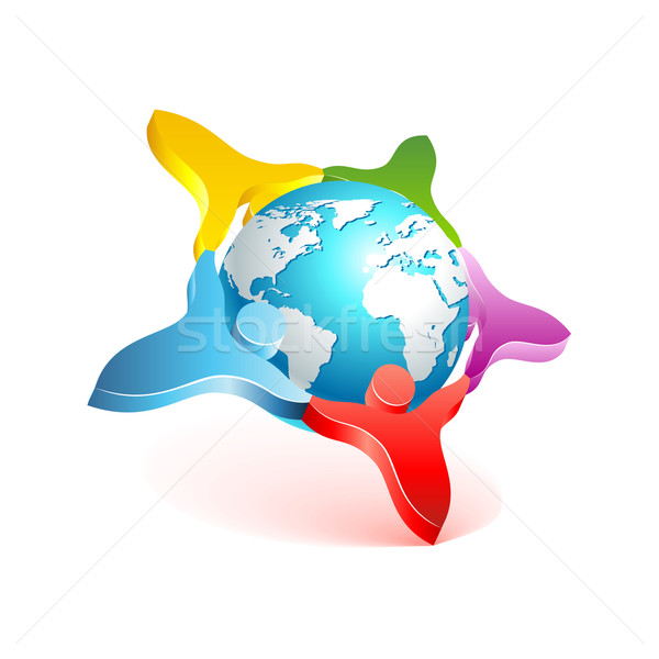Personas mundo 3D icono vector Foto stock © Designer_things