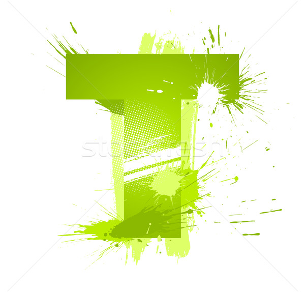 Verde abstrato pintar fonte letra t Foto stock © Designer_things