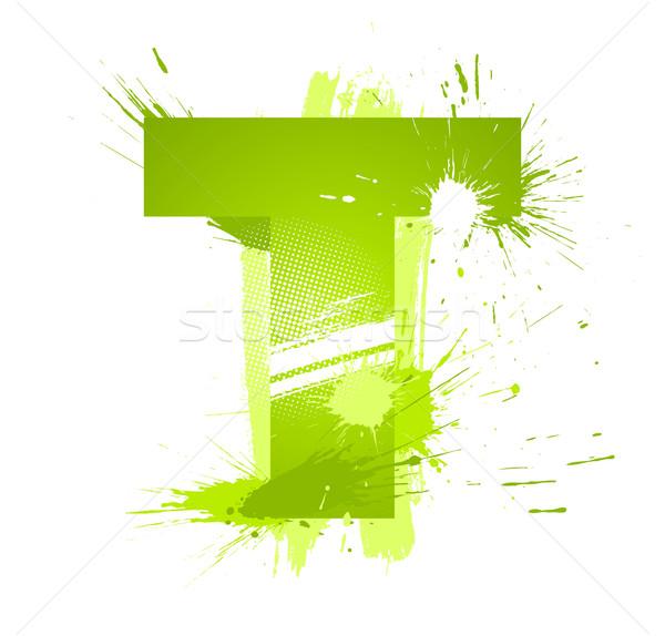 Grünen abstrakten malen Spritzer Schriftart Stock foto © Designer_things