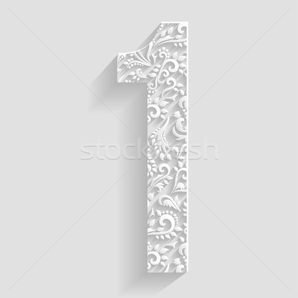 Number 1  Vector Floral Invitation cards Decorative Font vector