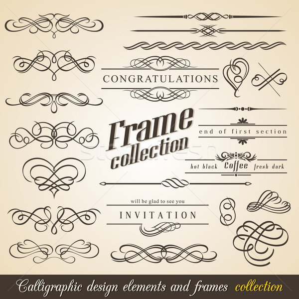 Calligraphic Design Elements and Frames Stock fotó © Designer_things
