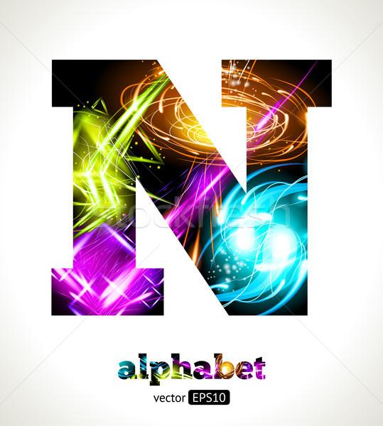 Vector personalizable luz efecto carta alfabeto Foto stock © Designer_things