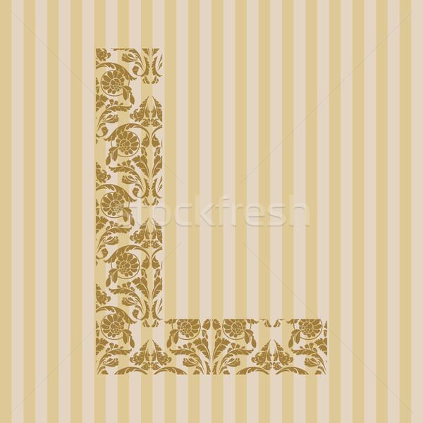 Doopvont letter l ornament brief decoratie Stockfoto © Designer_things