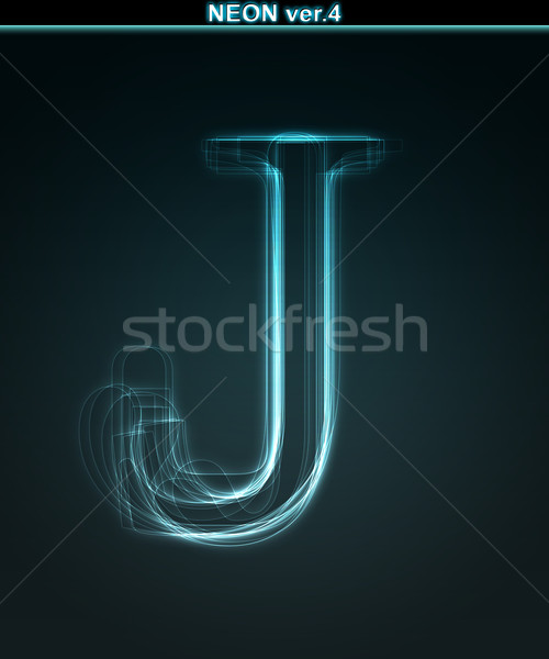 Stock fotó: Izzó · neon · betűtípus · fényes · levél · absztrakt