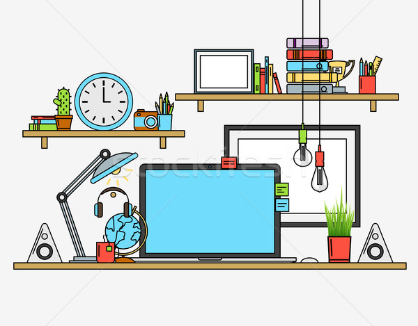 Illustration of modern workplace. Creative office workspace with map. Flat minimalistic style design Stock photo © Designer_things