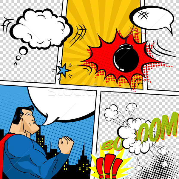 Vector Retro Comic Book Speech Bubbles Illustration. Mock-up of Comic Book Page with place for Text Stock photo © Designer_things