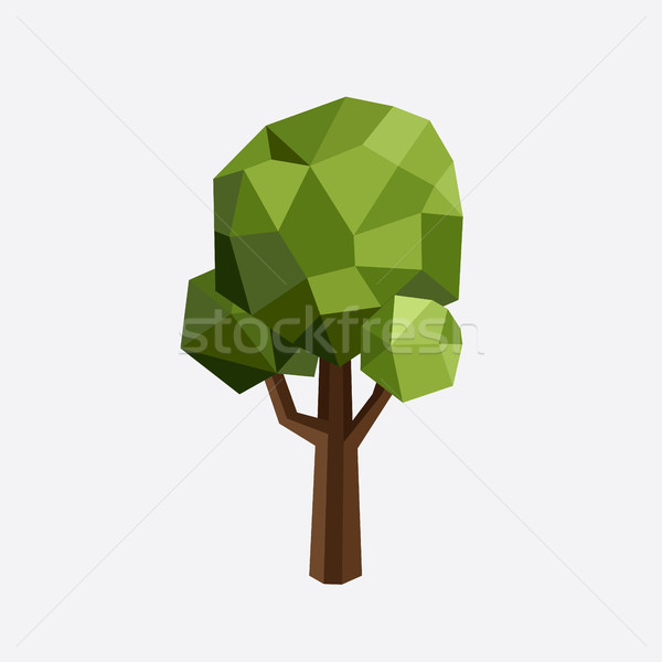 Triangle polygonal tree silhouette. Vector eco illustration. Isolated green wood in a triangular sty Stock photo © Designer_things