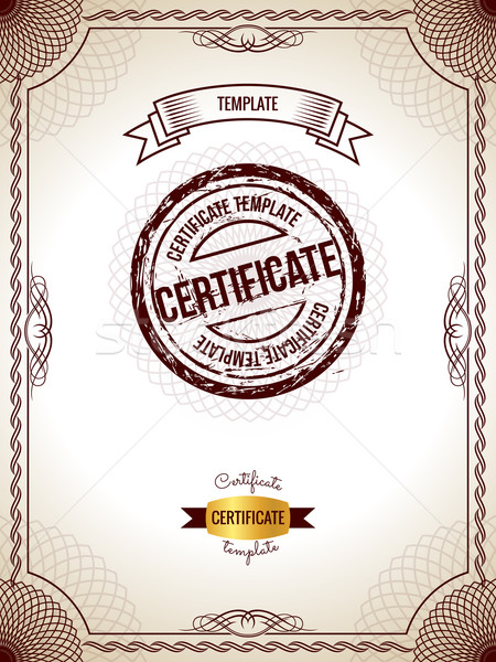 Certificat modèle or détaillée argent fond Photo stock © Designer_things